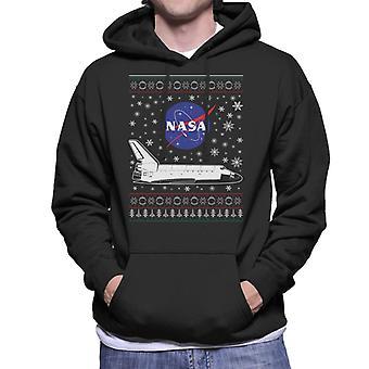 NASA Logo And Shuttle Christmas Knit Pattern Men's Hooded Sweatshirt