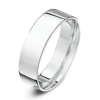 Star Wedding Rings 18ct White Gold Heavy Flat Court Shape 6mm Wedding Ring