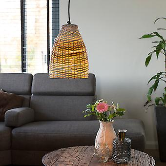 QAZQA Country Pendant Lamp 20cm Rattan with White and Iron Frame - Burn