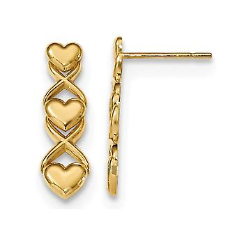Triple Heart and X Polished Post Earrings in 14K Yellow Gold
