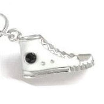 TOC Silvertone White Boot Pendant Necklace 18