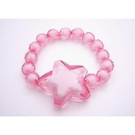 Stretchable Bracelet Trendy Rose Beads w/ Star Bead Best Girls Gift