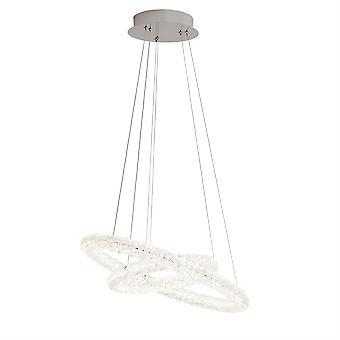 Kleinen Kreis Chrome und Kristall Glas LED Pendelleuchte - Searchlight 31610-2CC