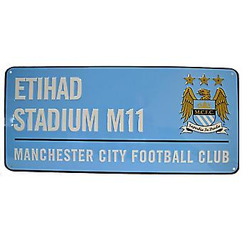 Manchester City FC Etihad Stadium (blue) metal street sign (bb)