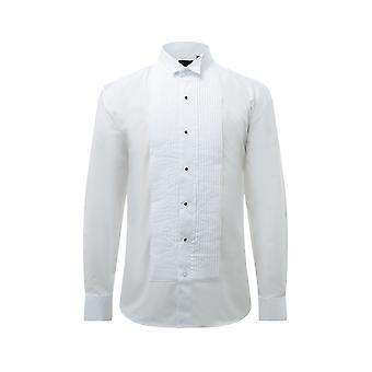 Dobell Mens weißes Kleid Shirt reguläre Passform 100 % Baumwolle Kläppchenkragen Plissee Gestüt Schaltfläche vordere Doppel-Ärmel