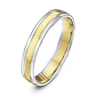 Anneaux de mariage Star blanc 18ct & jaune or Cour façonner 4 mm bague de mariage