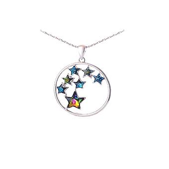 Star pendant adorned with crystals of Swarovski blue and Rhodium plate