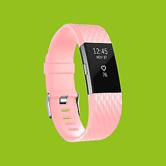 For Fitbit satsvise 2 plast / silikon armbånd for kvinner / størrelse S rosa se