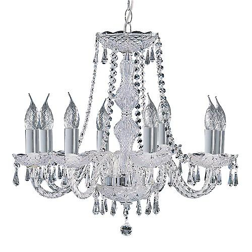Searchlight 218-8 Hale 8 Arm Chrome Georgian Crystal Chandelier