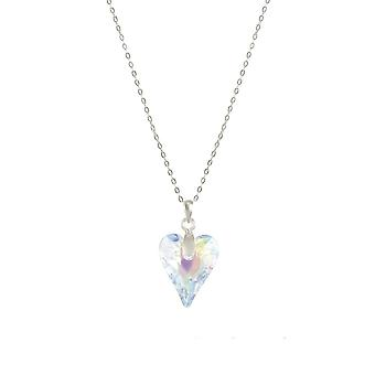 Eternal Collection Wild At Heart Aurora Borealis Austrian Crystal Sterling Silver Pendant