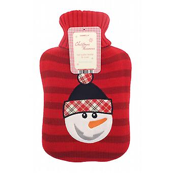 Festive Fun Snowman Knitted Cover 2L Hot Water Bottle