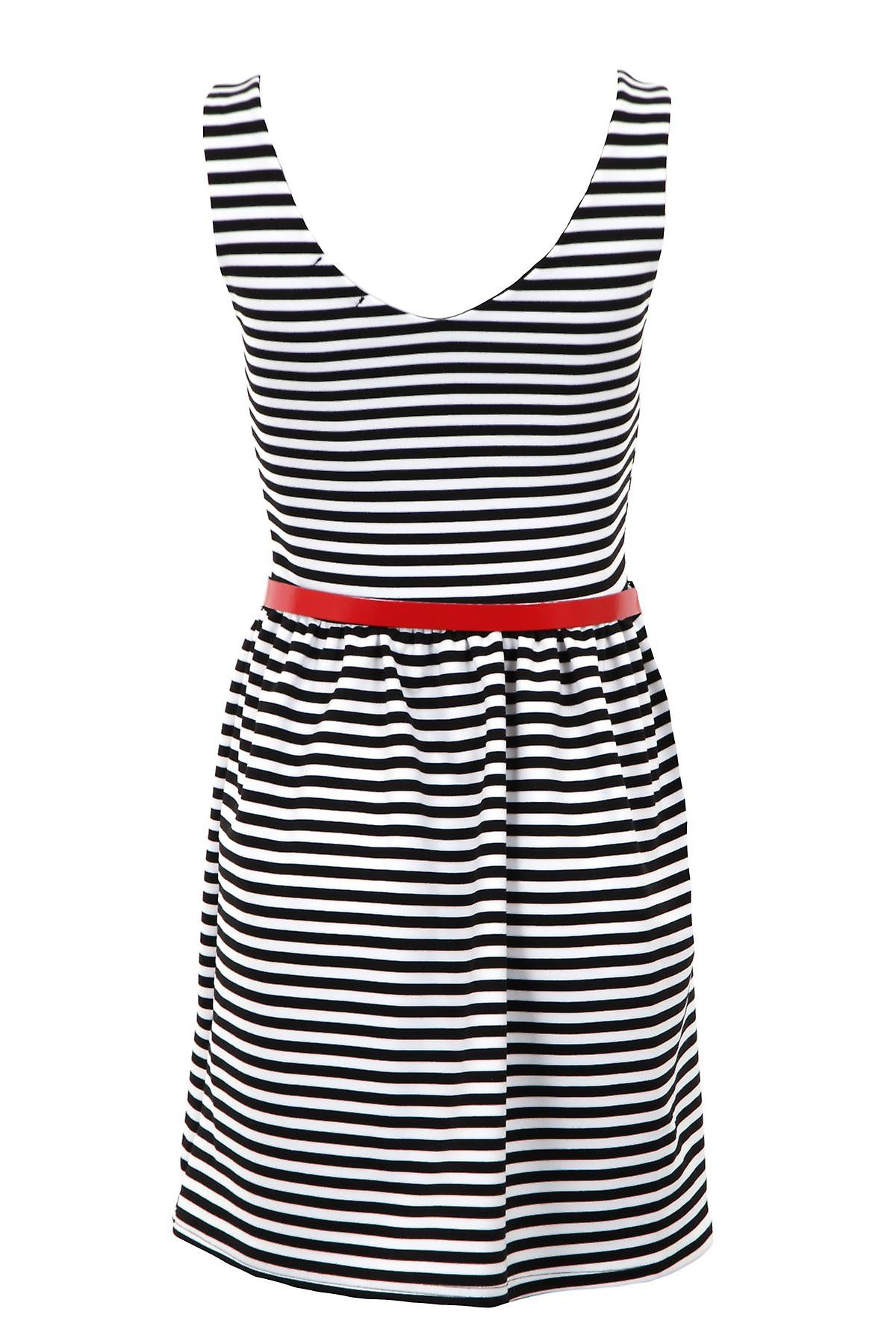 New Ladies Sleeveless Belted Black White V Neck Skater Women's Dress