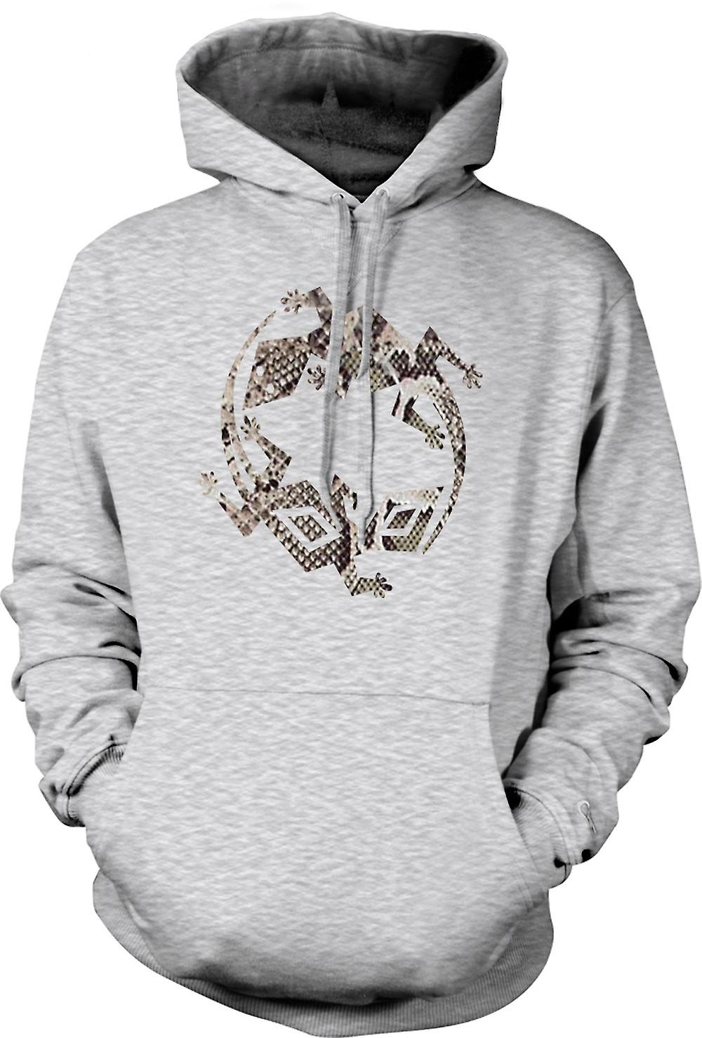 Mens Hoodie - Lizard and Gecko Symbol - Snake Skin