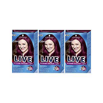 Schwarzkopf LIVE intense kleur & amp; Lift L76 Ultra Violet Pro haarkleur kleurstof x 3