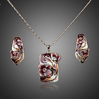 18K Gold Plated Red Oil Pattern Jewellery Set