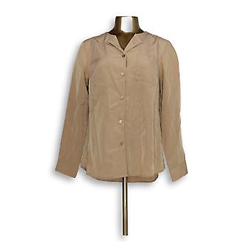 Denim & Co. Women's Top Solid Woven Wing Collar Button Down Beige A350035