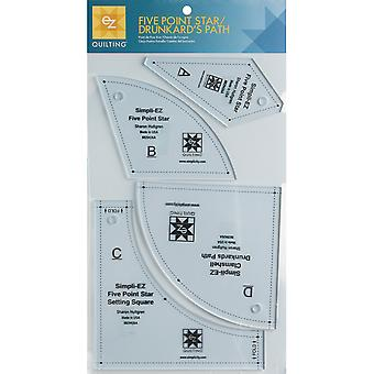 Five Point Star Drunkard's Path Template 4 Pieces 8829426A
