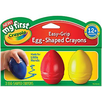 My First Crayola Easy Grip Egg Shaped Crayons 3Pc Blue, Red And Yellow 81 1345