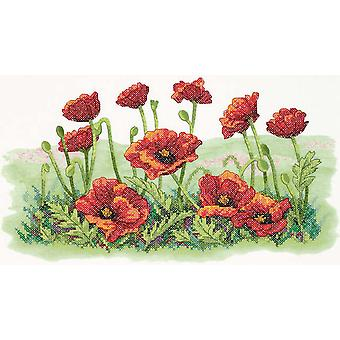 Field Of Poppies Stamped Cross Stitch Kit 16