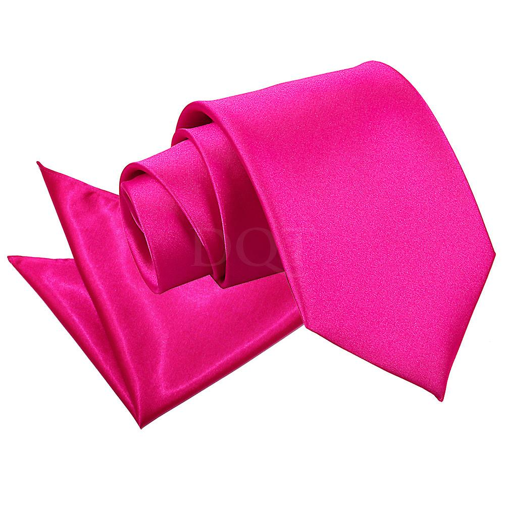 Plain Hot Pink Satin Tie 2 pc. Set
