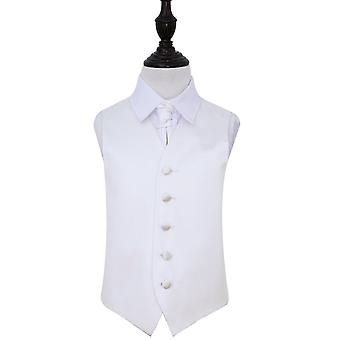 Boy's Plain White satijn bruiloft gilet & Cravat Set
