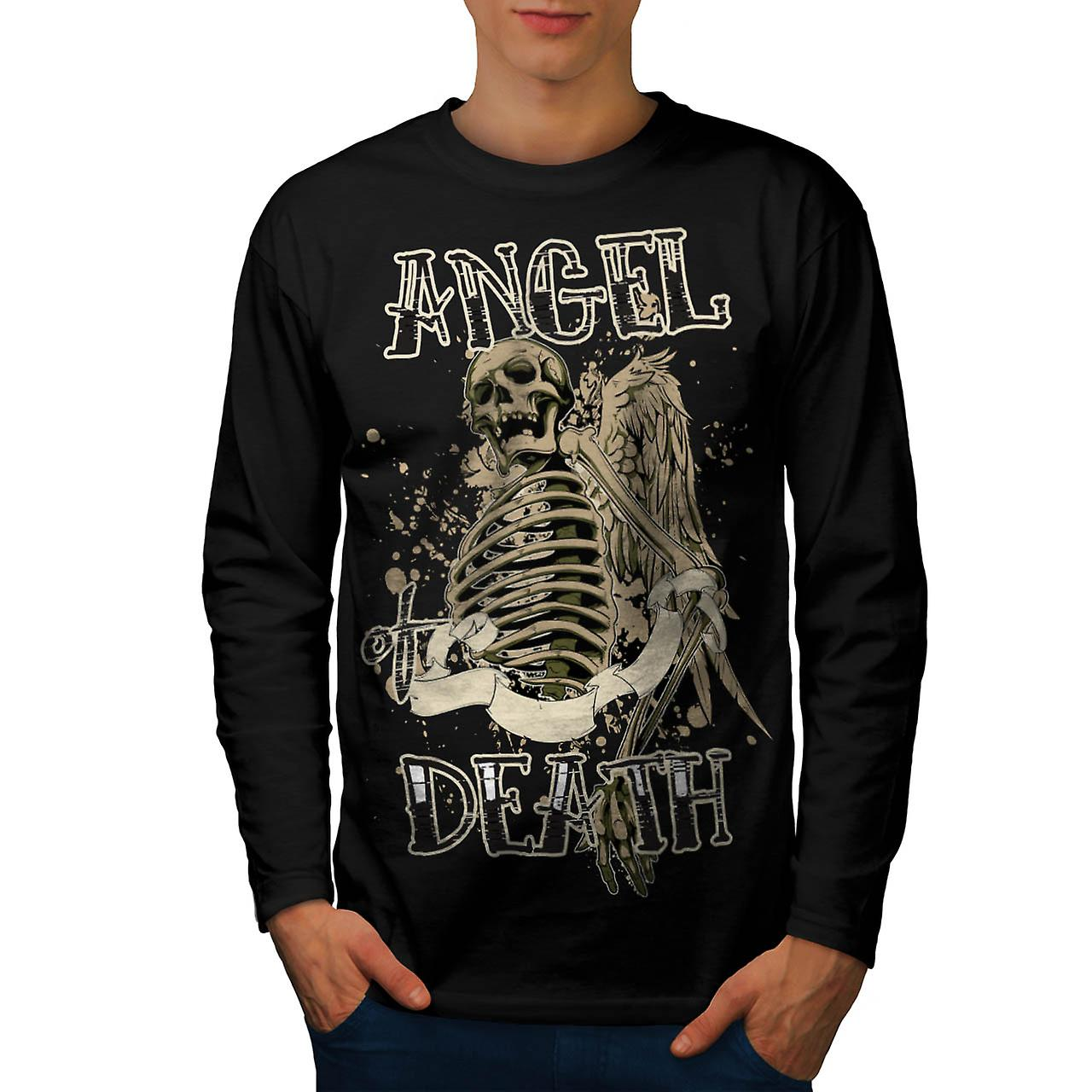 Angel Death Halo Wing Hell Gate Men Black Long Sleeve T-shirt | Wellcoda