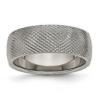 Titanium 8mm tekstureret Band Ring - størrelse 11,5