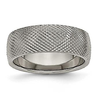 Titanium polerad Engravable 8mm texturerat Band Ring - Ring storlek: 7-13