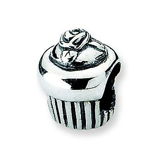 Sterling Silver Polished Antique finish Reflections Cupcake Bead Charm