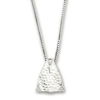 Sterling Silver White Ice Textured Triangle Diamond Pendant - .01 dwt - 18 Inch