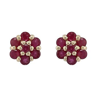 9ct Yellow Gold 0.61ct Natural Ruby Floral Cluster Stud Earrings