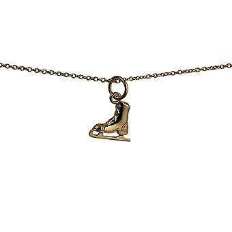 9ct Gold 11x12mm Ice Skate Pendant with a cable Chain 20 inches