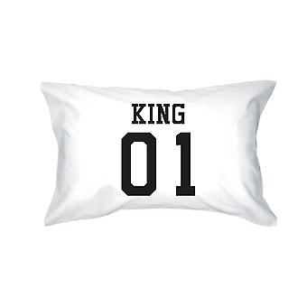 King 01 Queen 01 Couple Pillowcase Set Matching Egyptian Cotton Standard Size 20 x31 Pillow Covers