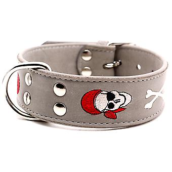 Doggy Things Pirate Dog Leather Collar Grey 45cm