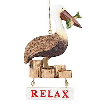 Slappe af Pelican sidder på molen 4,5 tommer harpiks Christmas Holiday Ornament