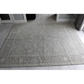 Stort blomstret creme håndlavede orientalske tonale uld tæppe