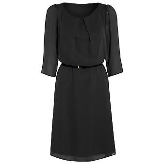 Womens belted flowy chiffon dress DR880-Black-12