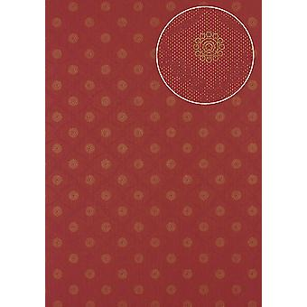 Baroque wallpaper Atlas PRI-055-6 non-woven wallpaper smooth with ornaments shimmering red gold Burgundy purple wine-red 7,035 m2