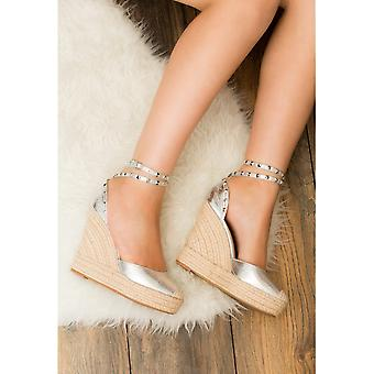 Carley Espadrille Studded Wedge Heel Strappy Sandals Shoes - Silver Leather Style