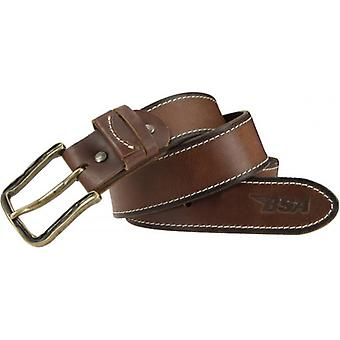 BSA Leather Stitched Belt - Brown