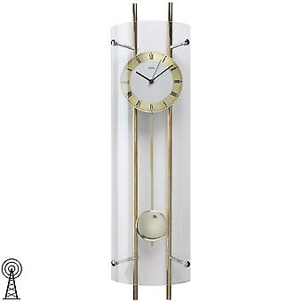 Wall clock with pendulum radio mineral glass lacquered brass metal rods
