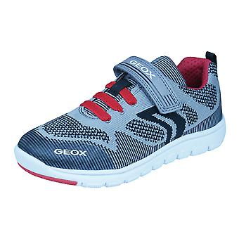 Geox J Xunday B J Boys Trainers / Shoes - Grey and Red