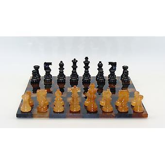 Conjunto básico de ajedrez alabastro negro y marrón