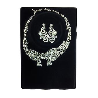 Silver Tone Diamante Jewellery Set With Earrings And Bow-Design Necklace