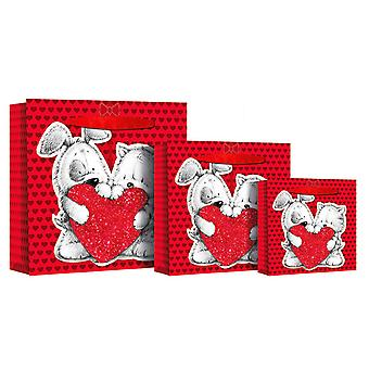 Eurowrap Swinging Tag Square Heart Gift Bags (Pack Of 12)