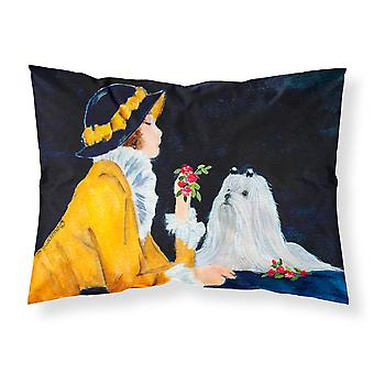 Lady with her Maltese Moisture wicking Fabric standard pillowcase