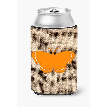 Butterfly Burlap and Orange Can or Bottle Beverage Insulator Hugger BB1037