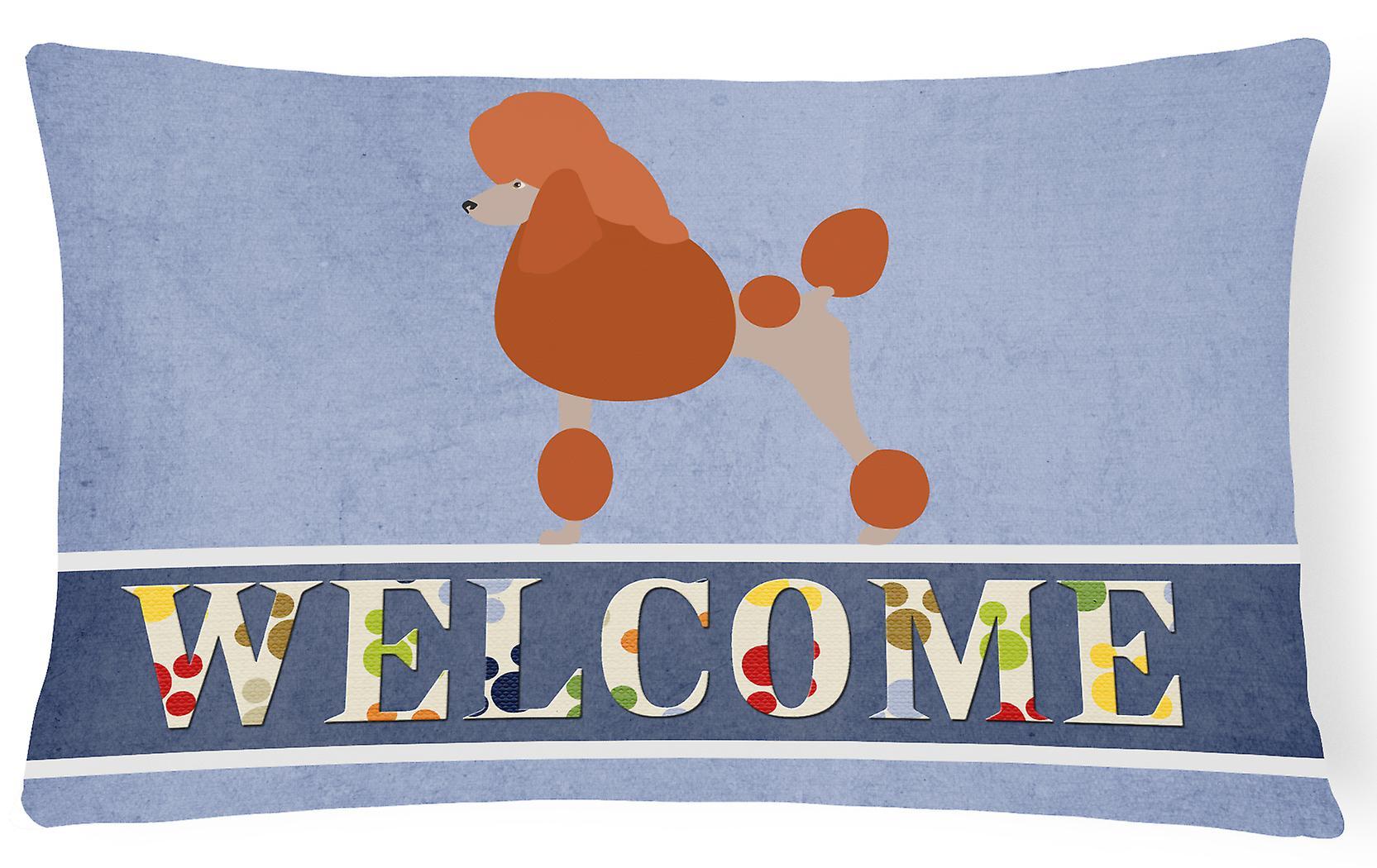 Poodle Royal Canvas Decorative Fabric Welcome Pillow tsCQrdhx