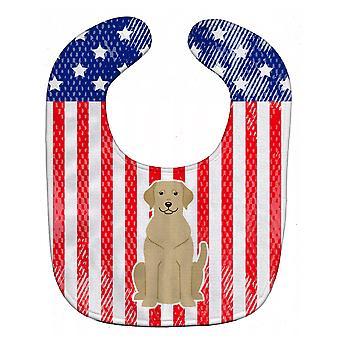 Carolines Treasures  BB3050BIB Patriotic USA Yellow Labrador Baby Bib