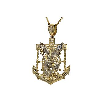 10k Yellow Gold Christian Religious St. Michael Battle Fighting the Devil Medallion Pendant Necklace